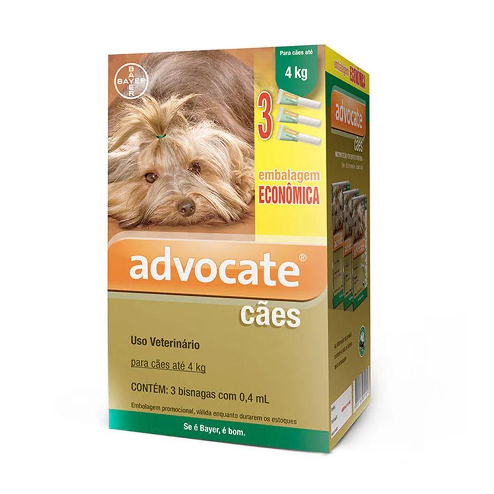 Antipulgas Advocate para Cães até 4kg (0,4ml) com 3 tubos - Bayer