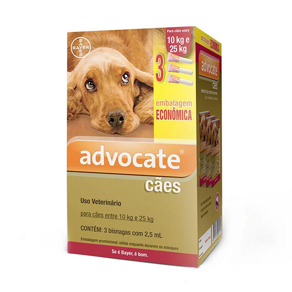 Antipulgas Advocate para Cães de 10 a 25kg (2,5ml) com 3 tubos - Bayer