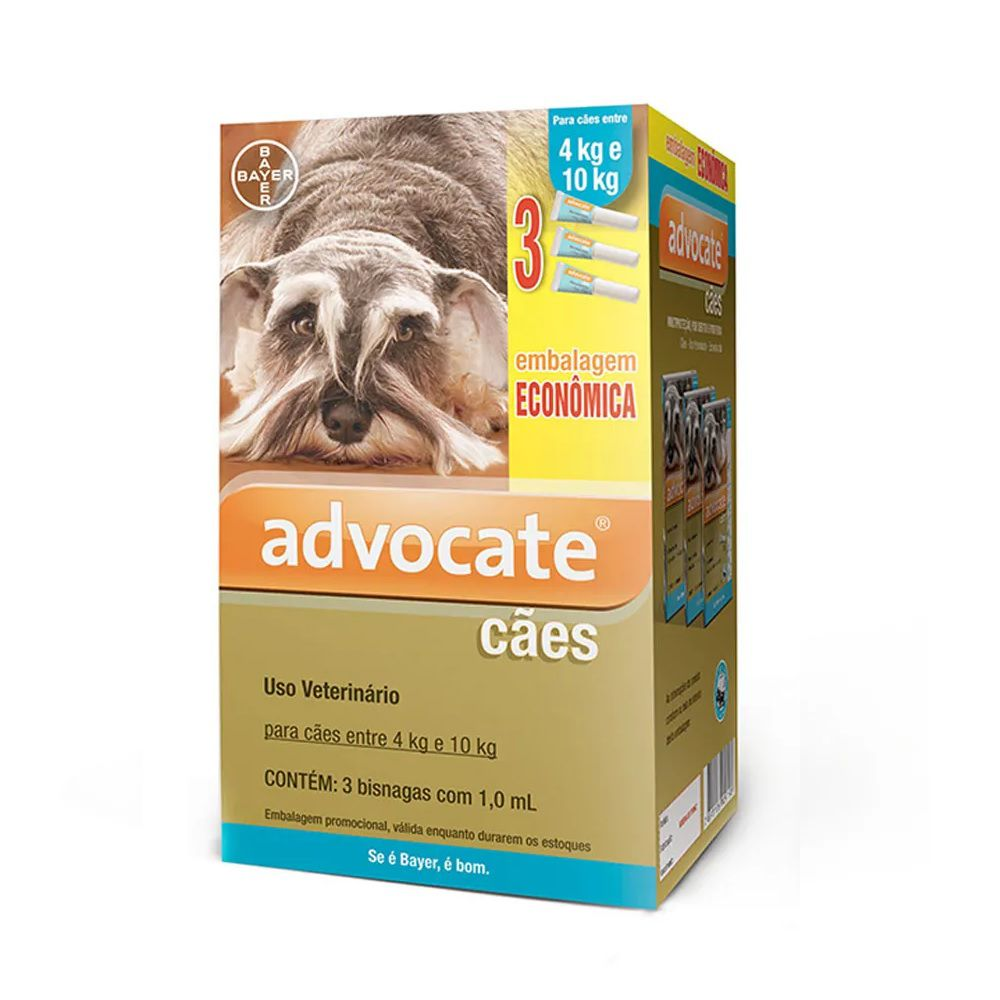 Antipulgas Advocate para Cães de 4 a 10kg (1,0ml) com 3 tubos - Bayer