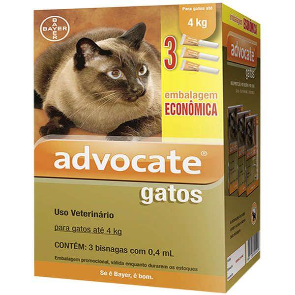 Antipulgas Advocate para Gatos até 4kg (0,4ml) com 3 tubos - Bayer