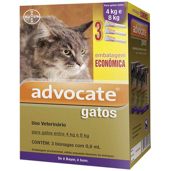 Antipulgas Advocate para Gatos de 4 a 8kg (0,8ml) com 3 tubos - Bayer