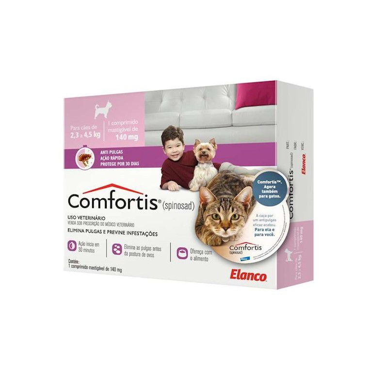 Antipulgas Comfortis 140mg para Cães de 2,3 a 4,5kg e Gatos de 1,4 a 2,8kg - Elanco