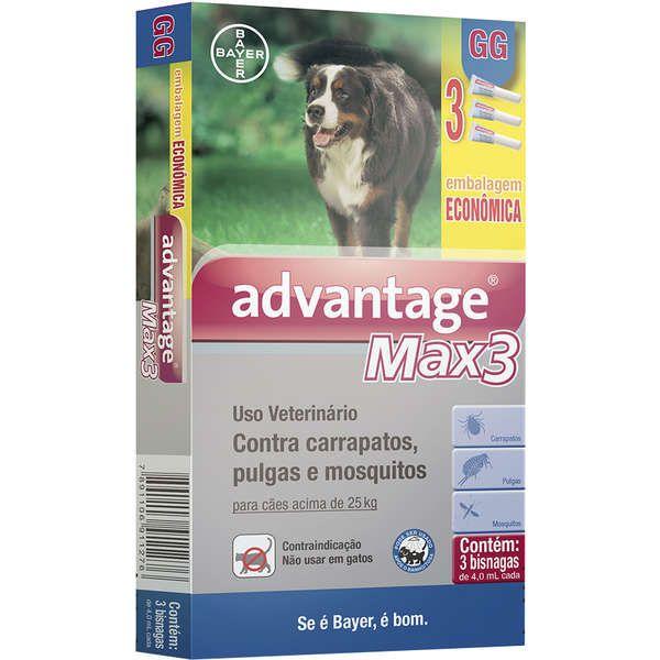 Antipulgas e Carrapatos Advantage Max3  para Cães acima de 25kg (4,0ml) com 3 tubos - Bayer