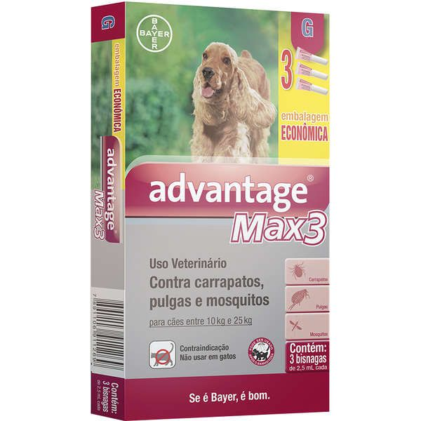 Antipulgas e Carrapatos Advantage Max3  para Cães de 10 a 25kg (2,5ml) com 3 tubos - Bayer