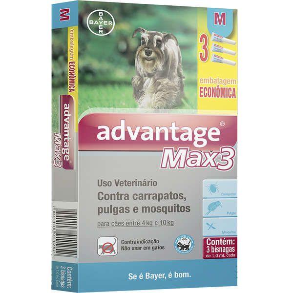 Antipulgas e Carrapatos Advantage Max3  para Cães de 4 a 10kg (1,0ml) com 3 tubos - Bayer