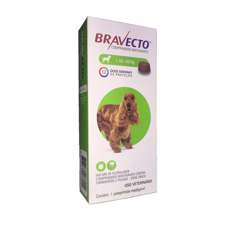 Antipulgas e Carrapatos Bravecto Para Caes De 10kg A 20kg (500mg) - MSD Saúde Animal