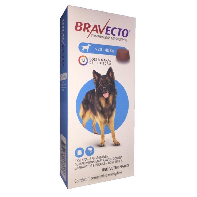 Antipulgas e Carrapatos Bravecto Para Caes De 20kg A 40kg (1000mg) - MSD Saúde Animal