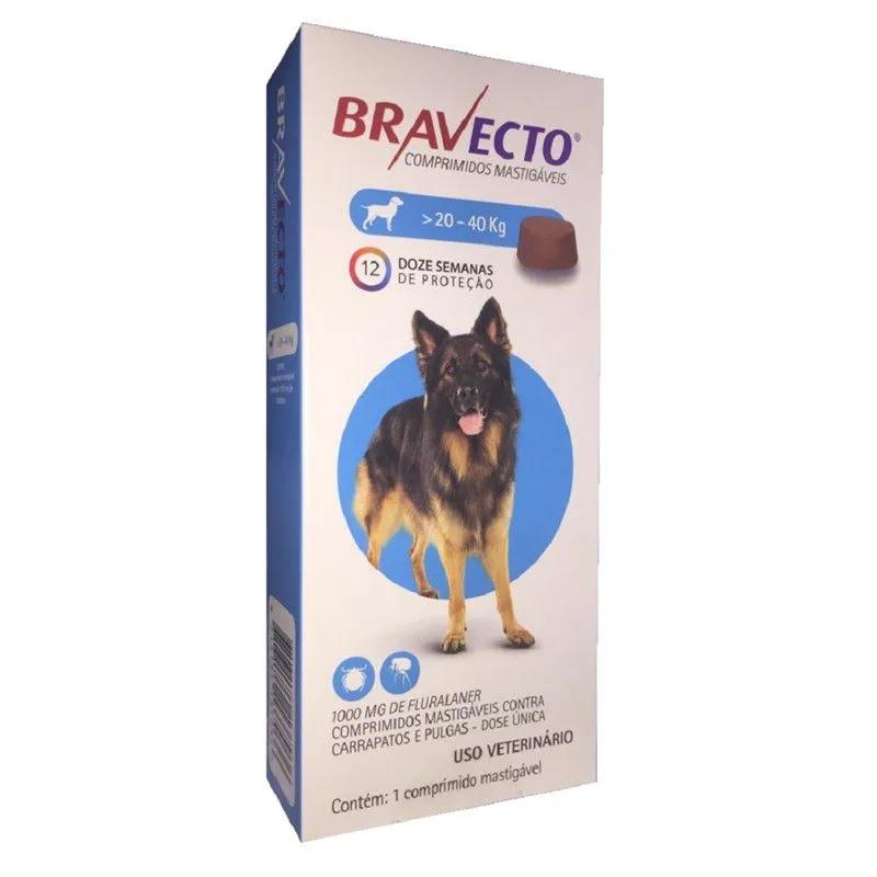 Antipulgas e Carrapatos Bravecto Para Caes De 20kg A 40kg (1000mg) - MSD Saúde Animal (Validade Julho/2021)
