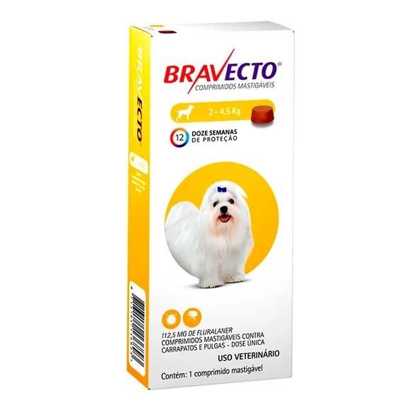 Antipulgas e Carrapatos Bravecto Para Caes De 2kg A 4,5kg (112,5mg) - MSD Saúde Animal (Validade 04/2021)