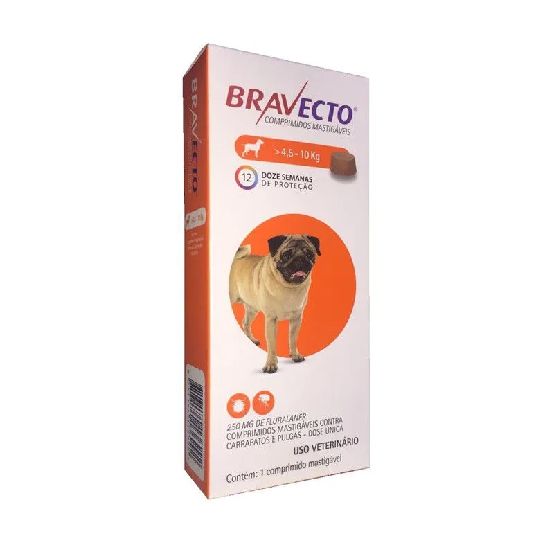 Antipulgas e Carrapatos Bravecto Para Caes De 4,5kg A 10kg (250mg) - MSD Saúde Animal (Validade Setembro/2021)