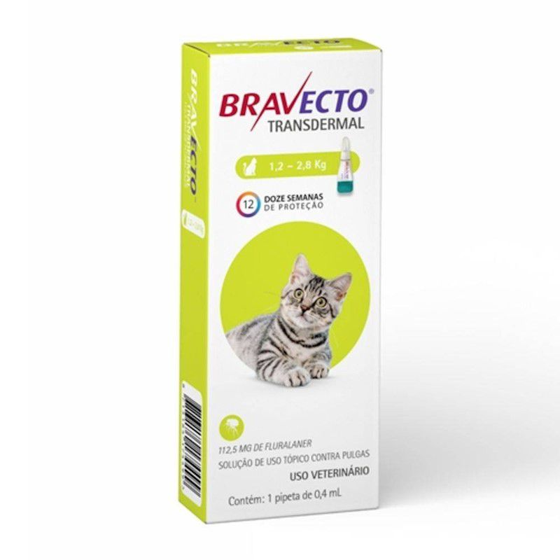 Antipulgas e Carrapatos Bravecto Transdermal 112,5mg para Gatos de 1,2 a 2,8kg - MSD Saúde Animal