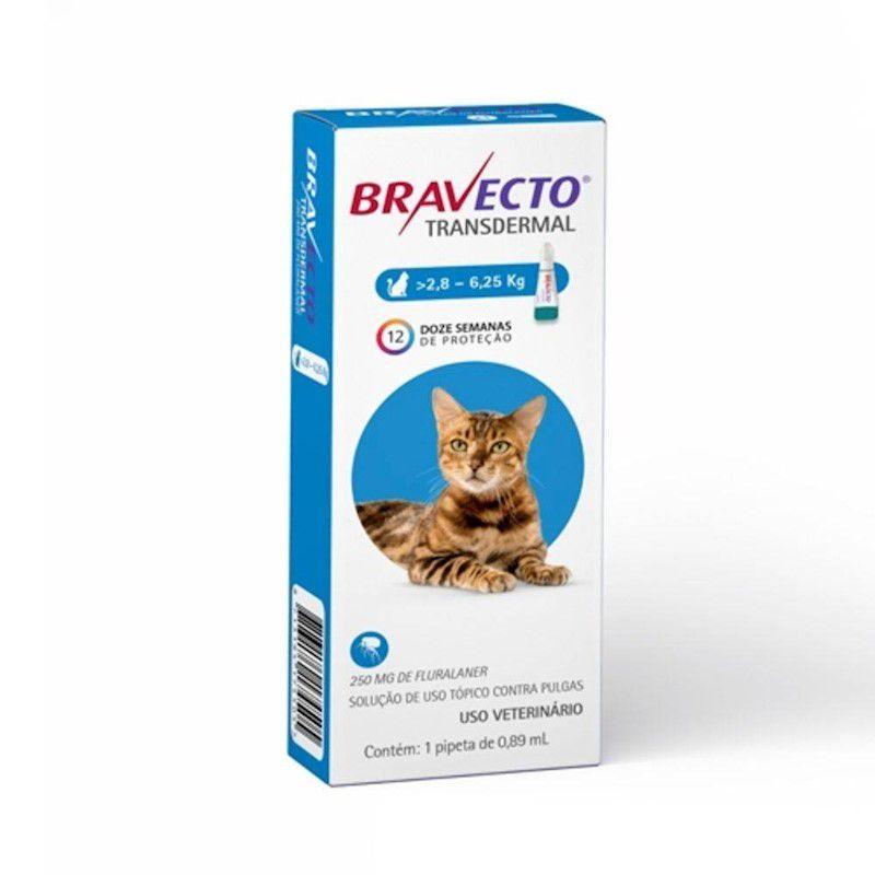 Antipulgas e Carrapatos Bravecto Transdermal 250mg para Gatos de 2,8 a 6,25kg - MSD Saúde Animal