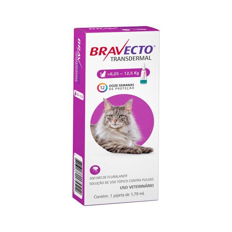 Antipulgas e Carrapatos Bravecto Transdermal 500mg para Gatos de 6,25 a 12,5kg - MSD Saúde Animal