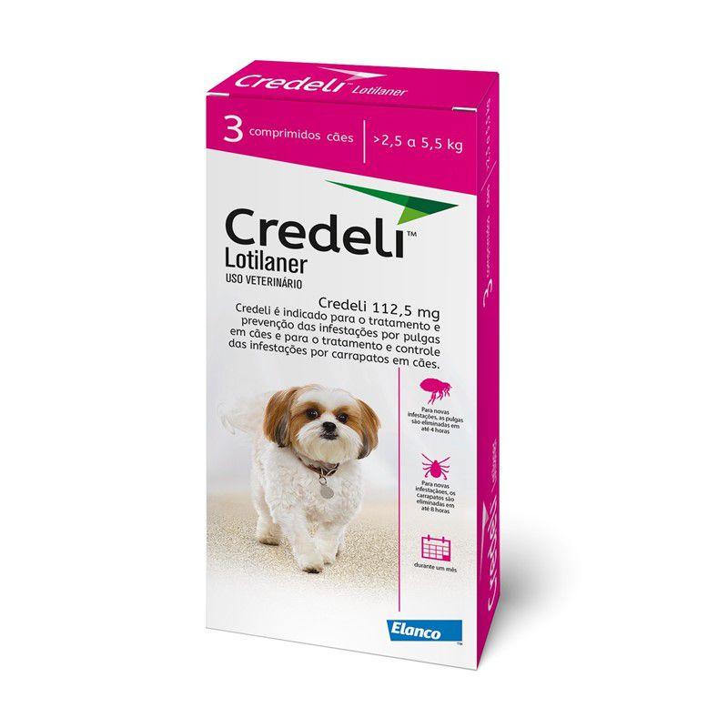 Antipulgas e Carrapatos Credeli 112,5mg para Cães entre 2,5 e 5,5kg (3 comprimidos) - Elanco