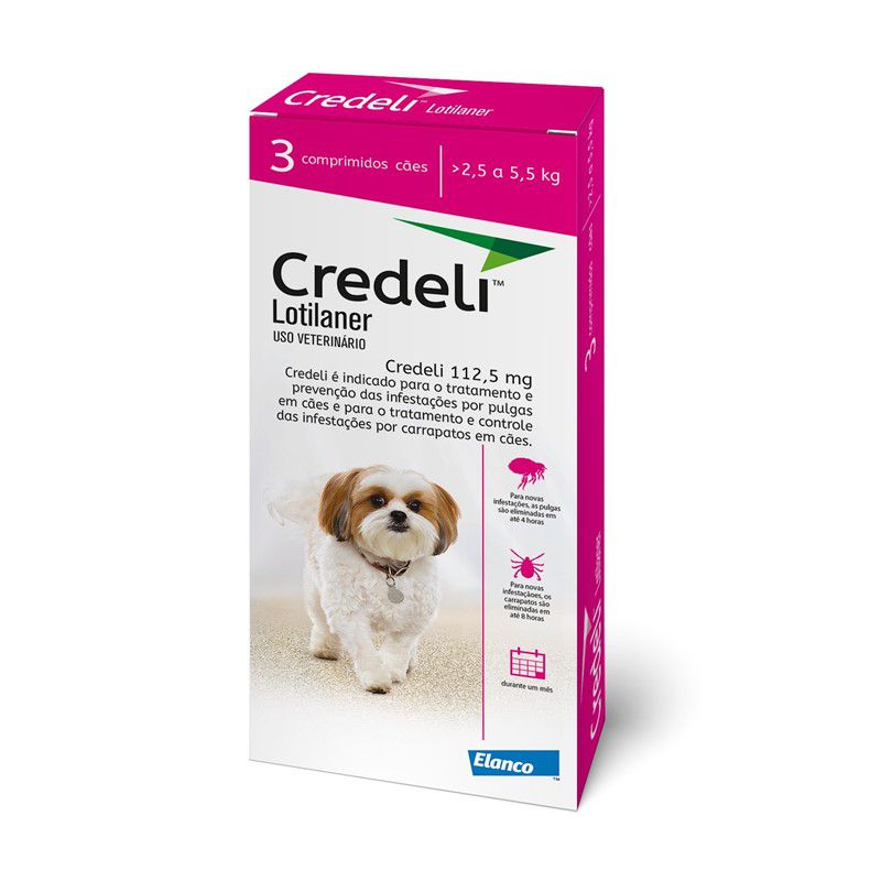 Compre um Antipulgas e Carrapatos Credeli 112,5mg para Cães entre 2,5 e 5,5kg (3 comprimidos) e Ganhe um Cinto de Segurança - Elanco