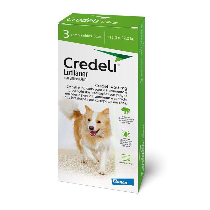 Antipulgas e Carrapatos Credeli 450mg para Cães entre 11 e 22kg (3 comprimidos) - Elanco