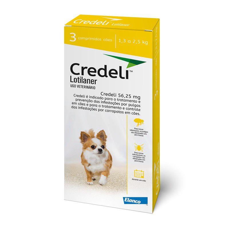 Antipulgas e Carrapatos Credeli 56,25mg para Cães entre 1,3 e 2,5kg (3 comprimidos) - Elanco