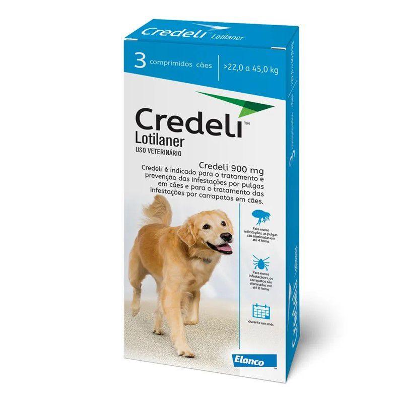 Antipulgas e Carrapatos Credeli 900mg para Cães entre 22 e 45kg (3 comprimidos) - Elanco