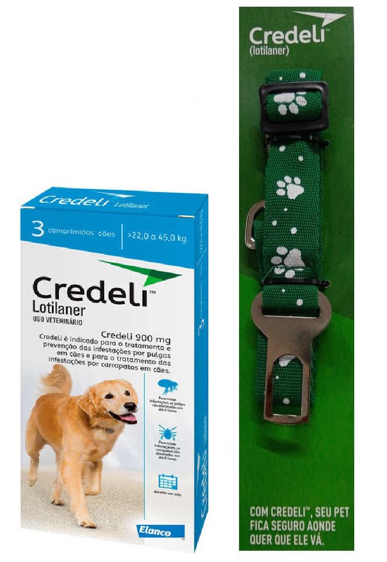Compre um Antipulgas e Carrapatos Credeli 900mg para Cães entre 22 e 45kg (3 comprimidos) e Ganhe um Cinto de Segurança - Elanco