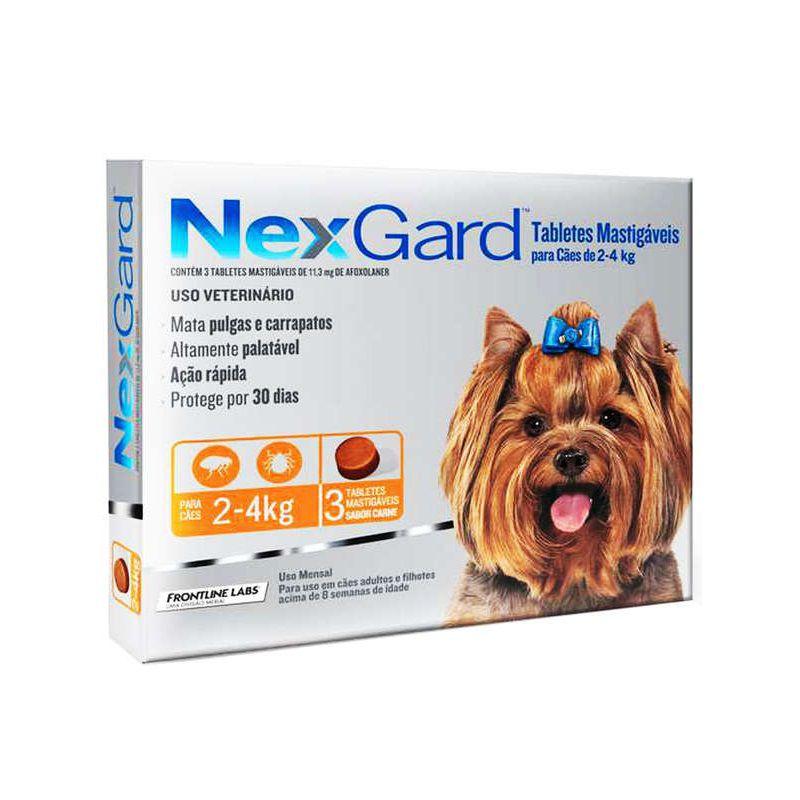 Antipulgas e Carrapatos Nexgard 11,3mg para Cães de 2 a 4kg (3 tabletes) - Merial