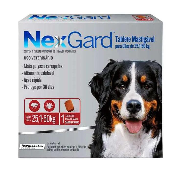 Antipulgas e Carrapatos Nexgard 136mg para Cães de 25,1 a 50kg - Boehringer Ingelheim (Validade Maio/2021)