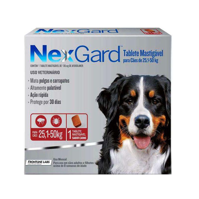 Antipulgas e Carrapatos Nexgard 136mg para Cães de 25,1 a 50kg - Boehringer Ingelheim