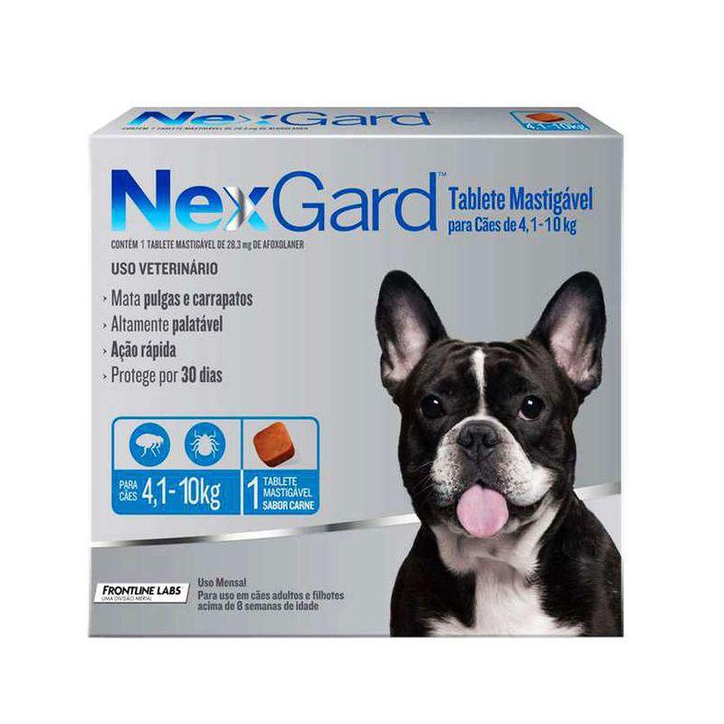 Antipulgas e Carrapatos Nexgard 28,3mg para Cães de 4,1 a 10kg - Merial