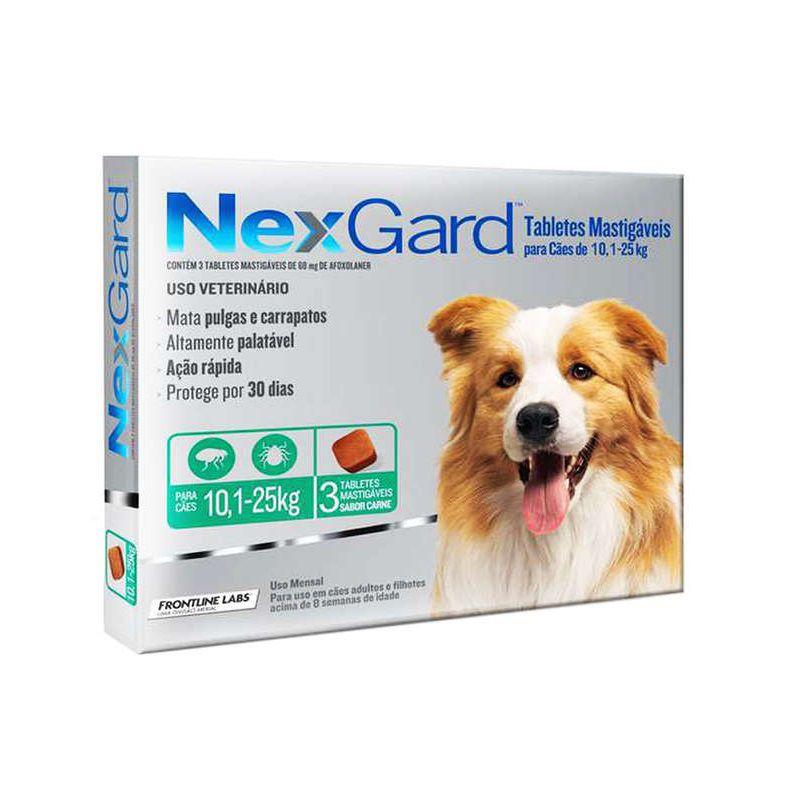 Antipulgas e Carrapatos Nexgard 68mg para Cães entre 10,1 e 25kg (3 tabletes) - Boehringer Ingelheim