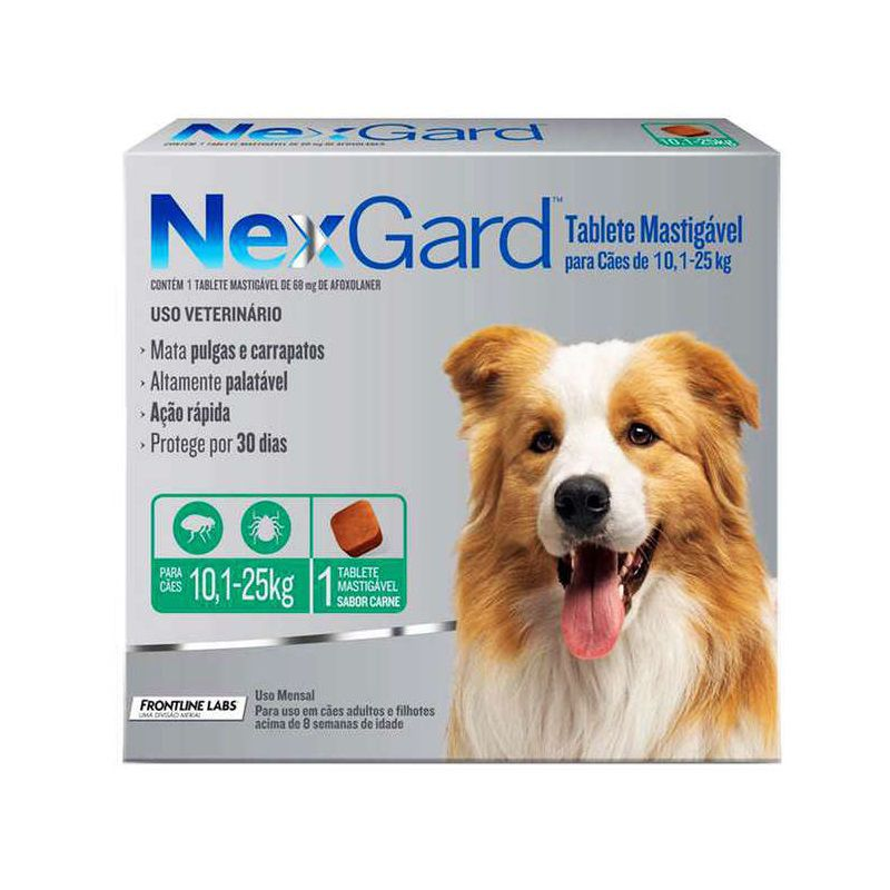 Antipulgas e Carrapatos Nexgard 68mg para Cães entre 10,1 e 25kg - Boehringer Ingelheim