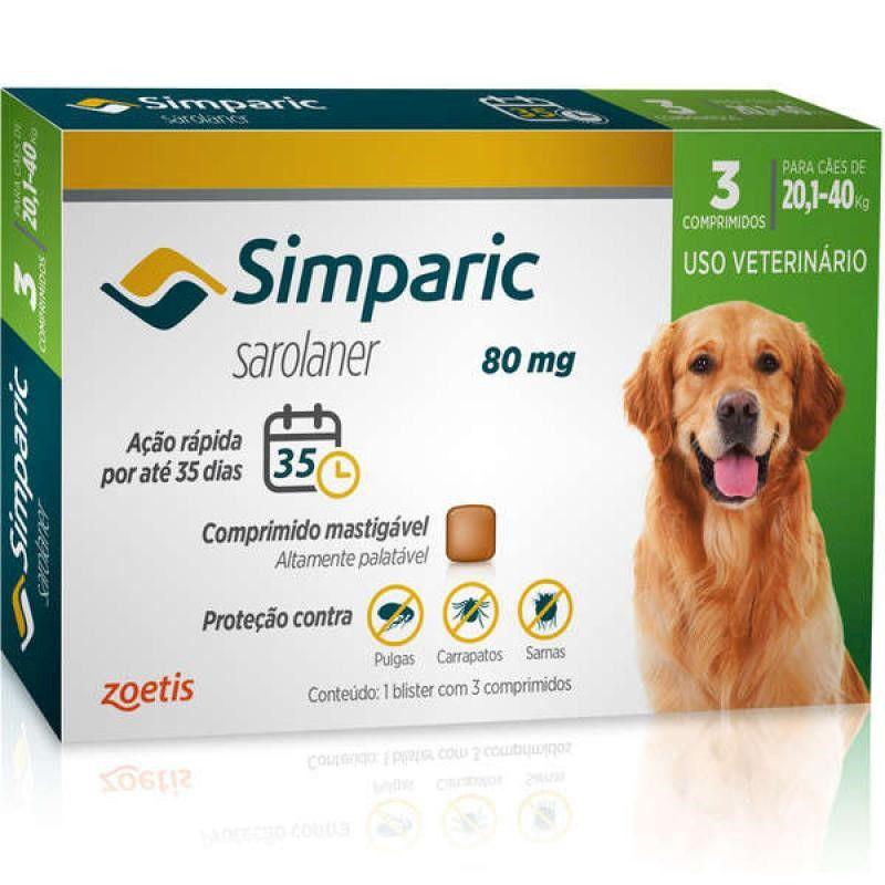 Antipulgas e Carrapatos para Cães Simparic de 20,1 a 40kg (3 tabletes) - Zoetis