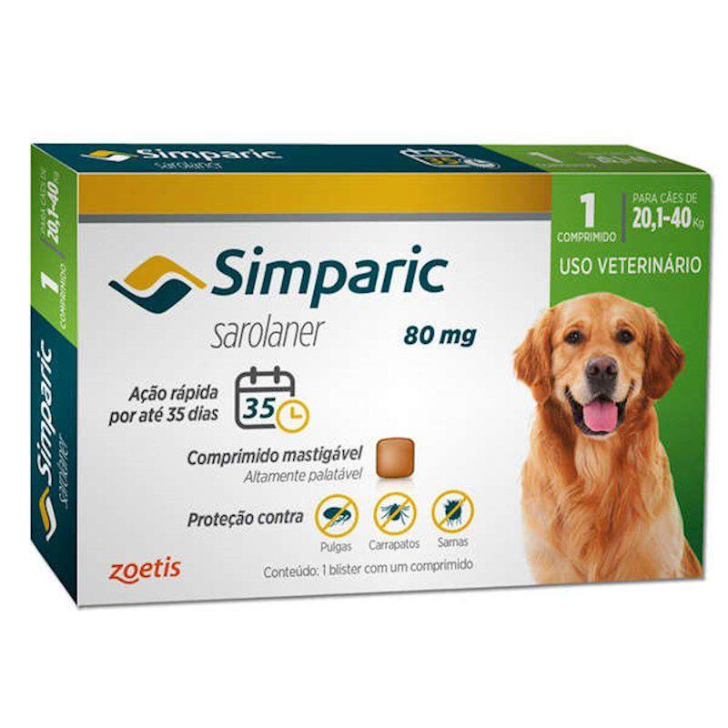 Antipulgas e Carrapatos para Cães Simparic de 20,1 a 40kg - Zoetis