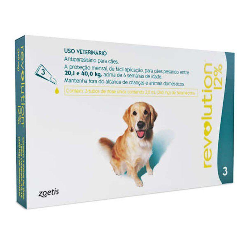 Antipulgas Revolution para Cães de 20,1kg a 40kg (3 Tubos) - Zoetis