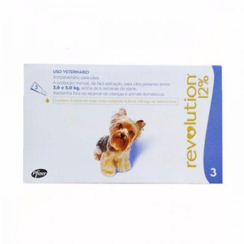 Antipulgas Revolution para Cães de 2,6kg a 5kg (3 Tubos) - Zoetis