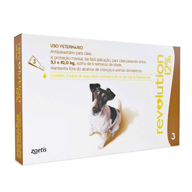 Antipulgas Revolution para Cães de 5,1kg a 10kg (3 Tubos) - Zoetis