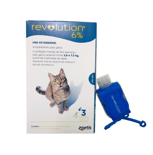 Antipulgas Revolution para Gatos de 2,6kg a 7,5 kg (3 Tubos) + Brinde Chaveiro Álcool Gel - Zoetis