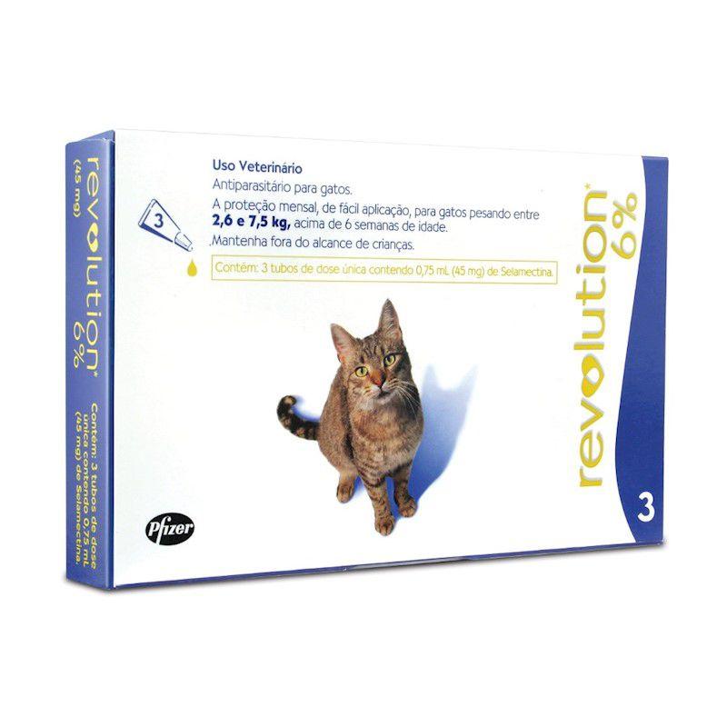 Antipulgas Revolution para Gatos de 2,6kg a 7,5 kg (3 Tubos) - Zoetis