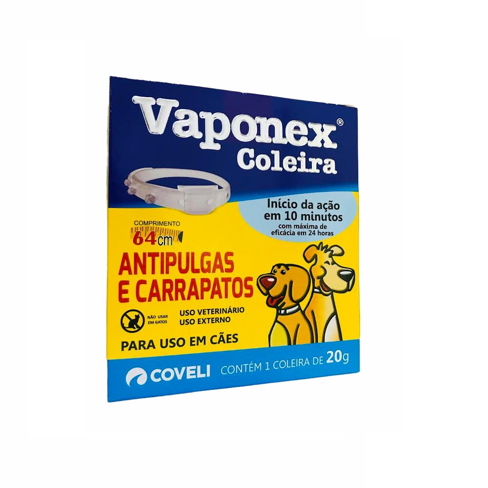 Coleira Antipulgas e Carrapatos para Cães Vaponex 48cm / 20g - Coveli