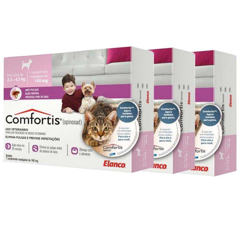 Combo 3 unidades Antipulgas Comfortis 140mg para Cães de 2,3 a 4,5kg e Gatos de 1,9 a 2,7kg