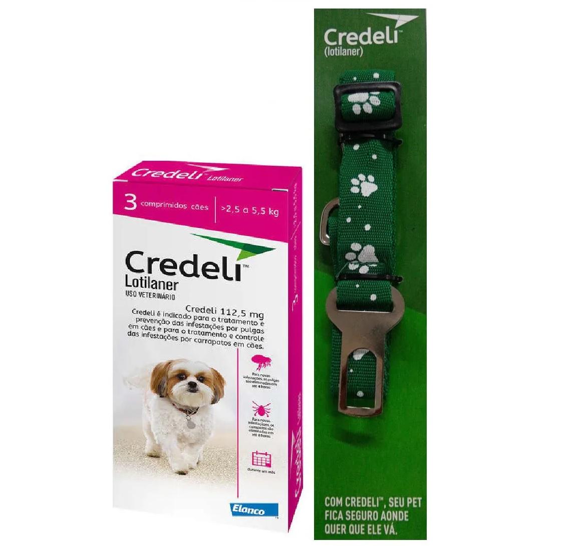 Compre um Antipulgas e Carrapatos Credeli 112,5mg para Cães entre 2,5 e 5,5kg (3 comprimidos) e Ganhe um Cinto de Segurança - Elanco (Validade Maio/2021)