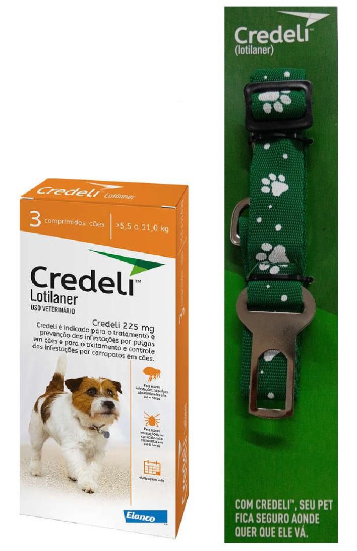Compre um Antipulgas e Carrapatos Credeli 225mg para Cães entre 5,5 e 11kg (3 comprimidos) e Ganhe um Cinto de Segurança - Elanco