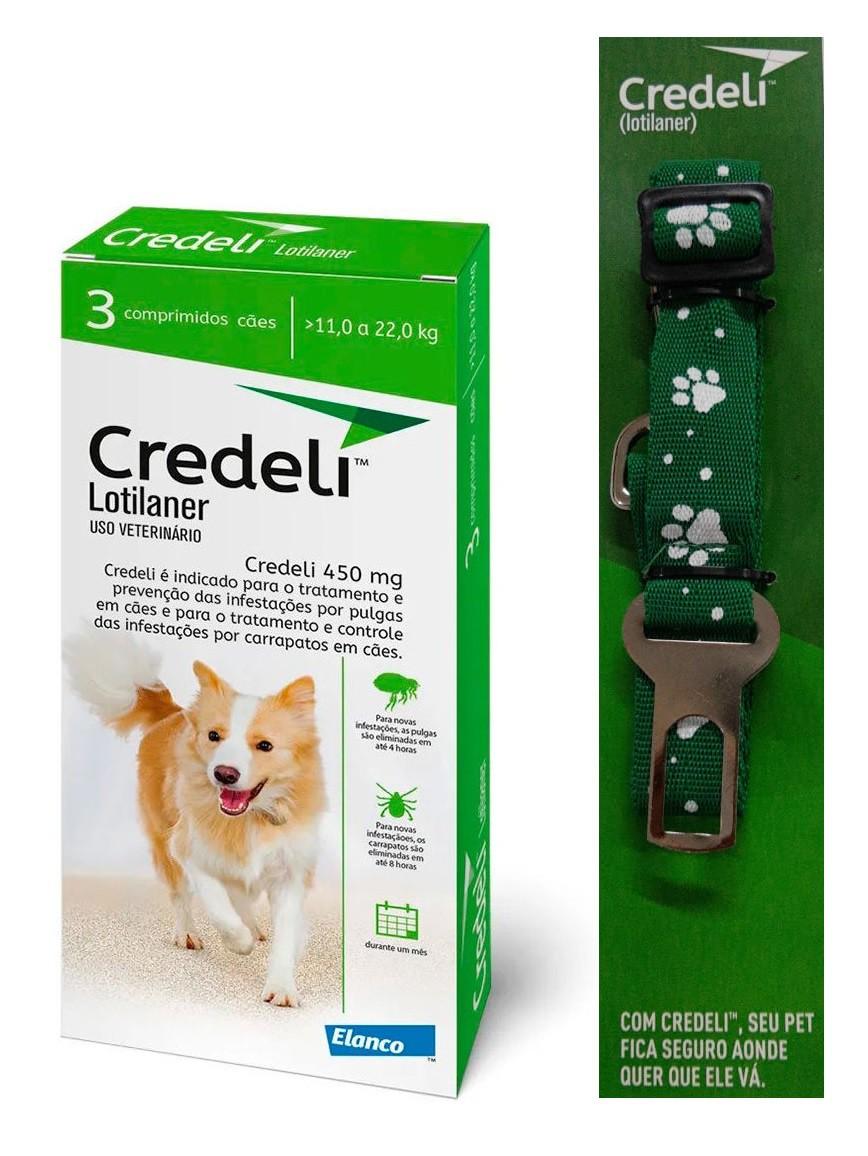 Compre um Antipulgas e Carrapatos Credeli 450mg para Cães entre 11 e 22kg (3 comprimidos) e Ganhe um Cinto de Segurança - Elanco