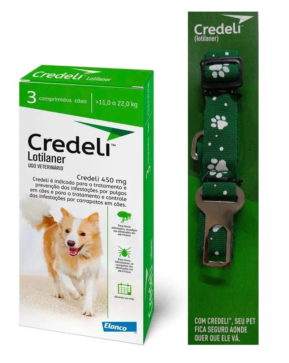 Compre um Antipulgas e Carrapatos Credeli 450mg para Cães entre 11 e 22kg (3 comprimidos) e Ganhe um Cinto de Segurança - Elanco (Validade 31/01/2021)