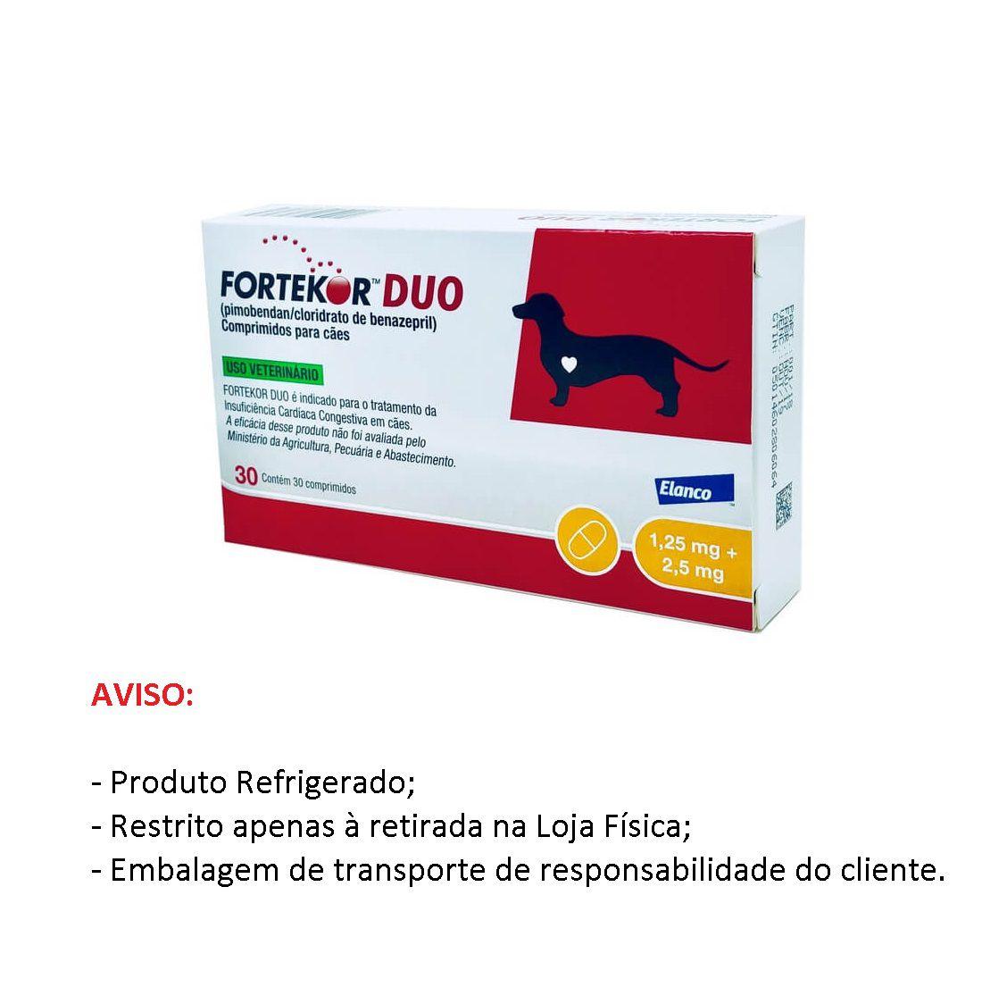 Fortekor DUO 1,25mg/2,5mg para Cães com 30 comprimidos - Elanco (Produto Refrigerado)