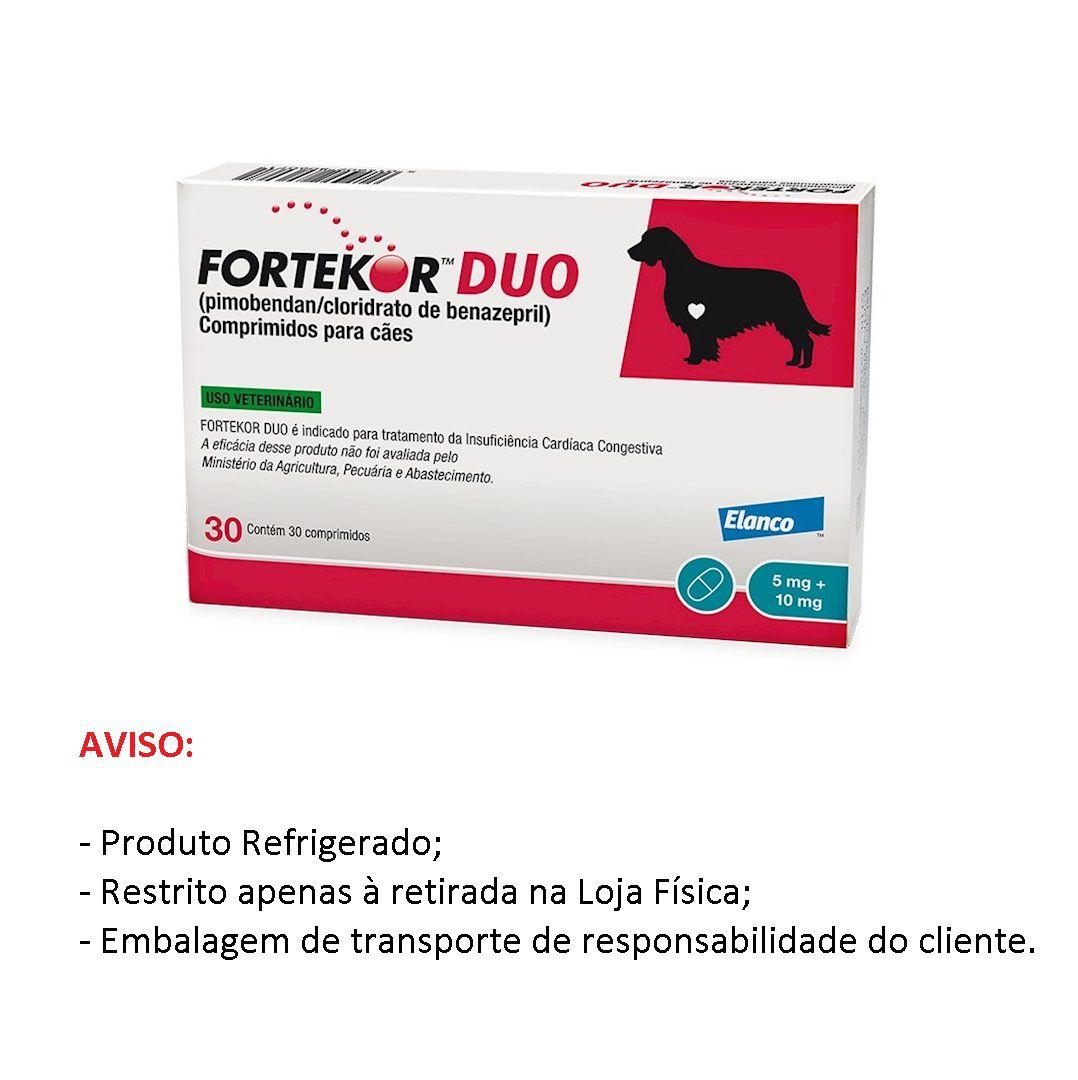 Fortekor DUO 5mg/10mg  para Cães com 30 comprimidos - Elanco (Produto Refrigerado) Validade Junho/2020