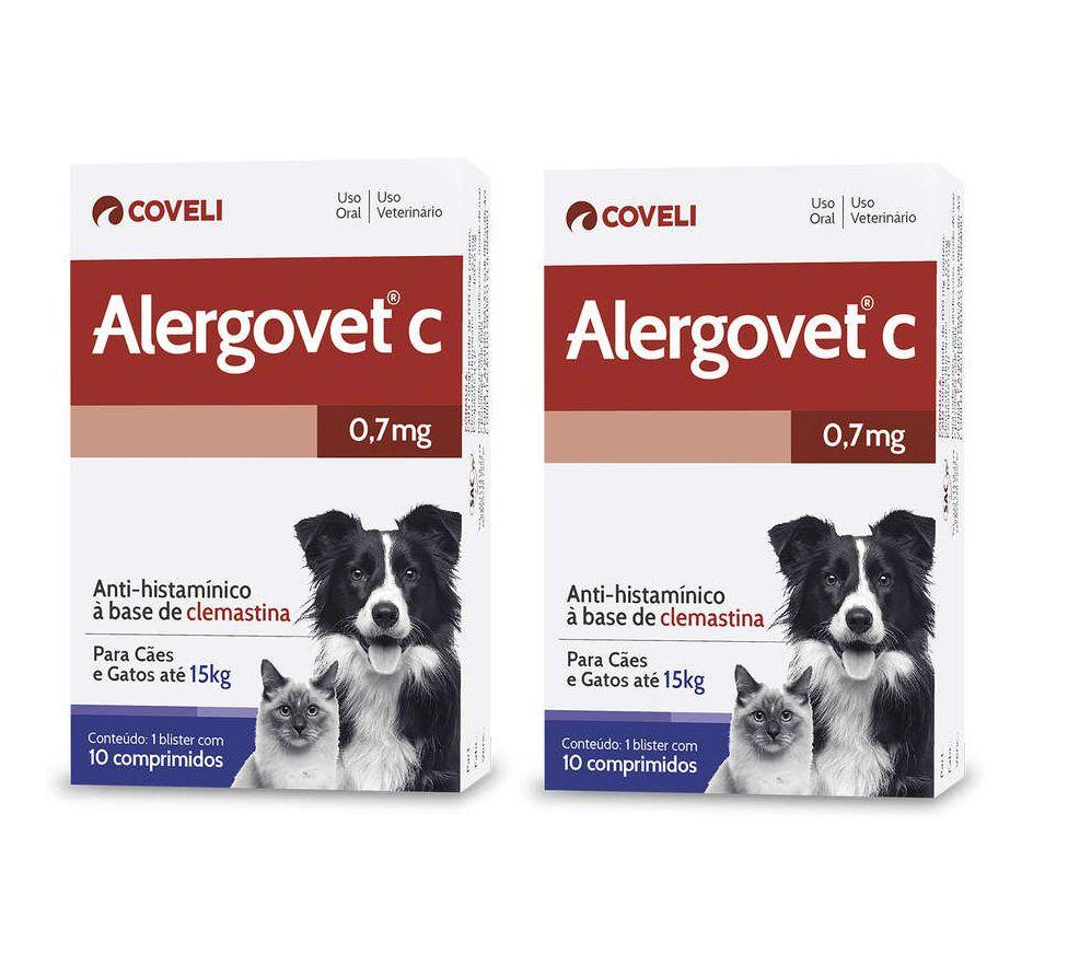 Kit 2 Unidades Anti Alérgico para Cães e Gatos até 15kg Alergovet C 0,7mg (10 comprimidos) - Coveli
