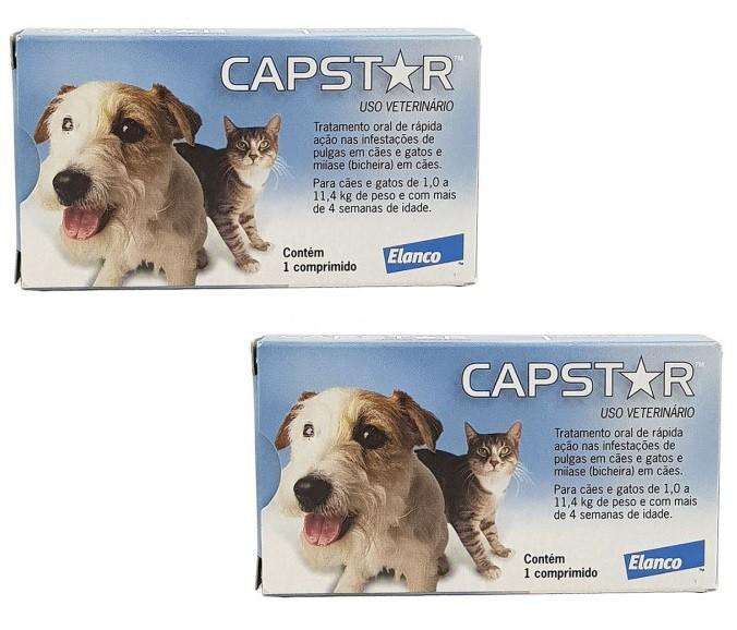 Kit 2 Unidades Antipulgas Capstar para Cães e Gatos até 11kg (6 comprimidos) - Elanco