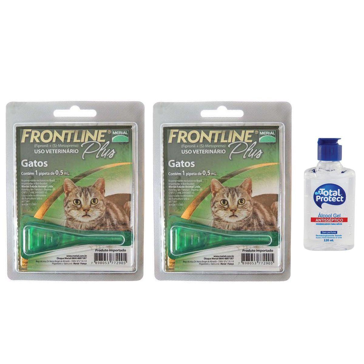 Kit 2 Unidades Antipulgas e Carrapatos Frontline Plus para Gatos - Merial + Brinde Álcool Gel 120ml Total Protect