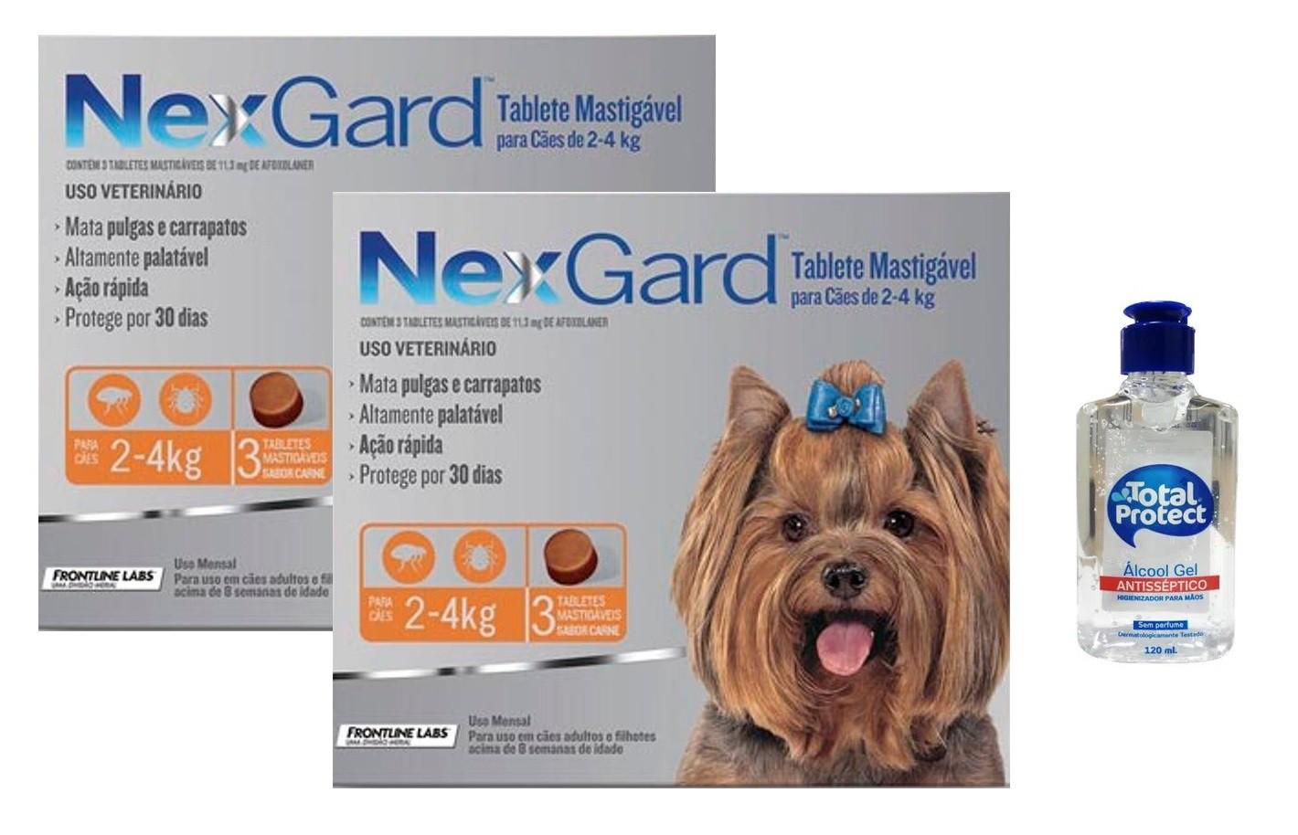 Kit 2 Unidades Antipulgas e Carrapatos Nexgard 11,3mg para Cães de 2 a 4kg (3 tabletes) - Merial + Brinde Álcool Gel 120ml Total Protect