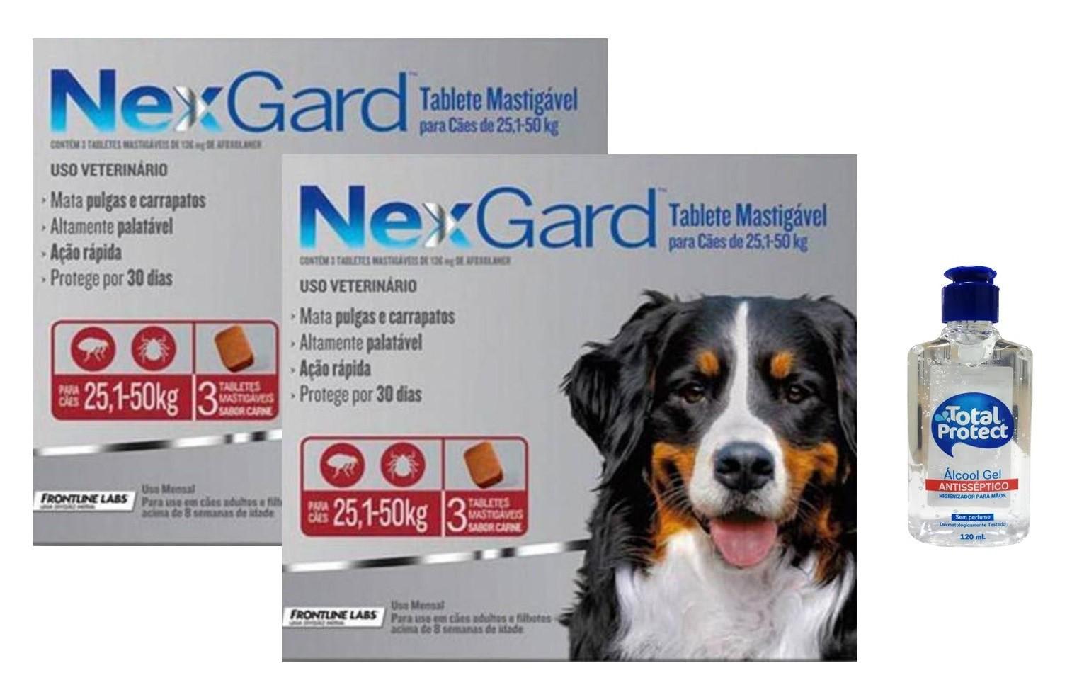 Kit 2 Unidades Antipulgas e Carrapatos Nexgard 136mg para Cães de 25,1 a 50kg (3 tabletes) - Boehringer Ingelheim + Brinde Álcool Gel 120ml Total Protect