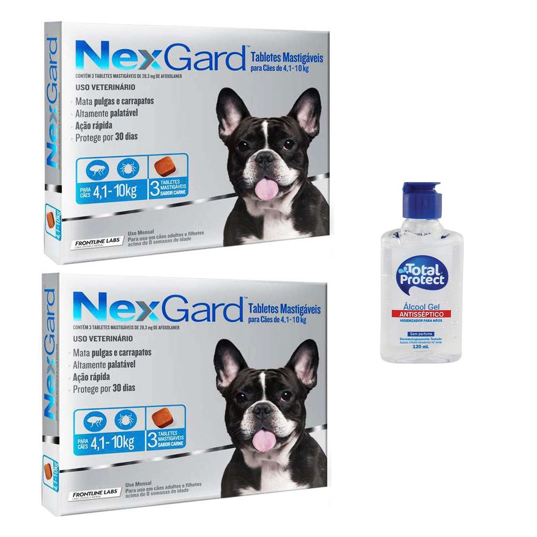 Kit 2 Unidades Antipulgas e Carrapatos Nexgard 28,3mg para Cães de 4,1 a 10kg (3 tabletes) - Merial + Brinde Álcool Gel 120ml Total Protect